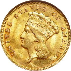 $3 Gold, 1854-1889