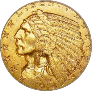 $5 Indian Gold, 1908-1929