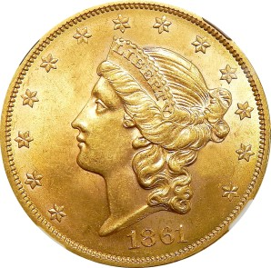 $20 Liberty Type Gold, 1850-1907