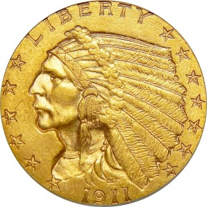 $2.5 Indian Gold, 1908-1929