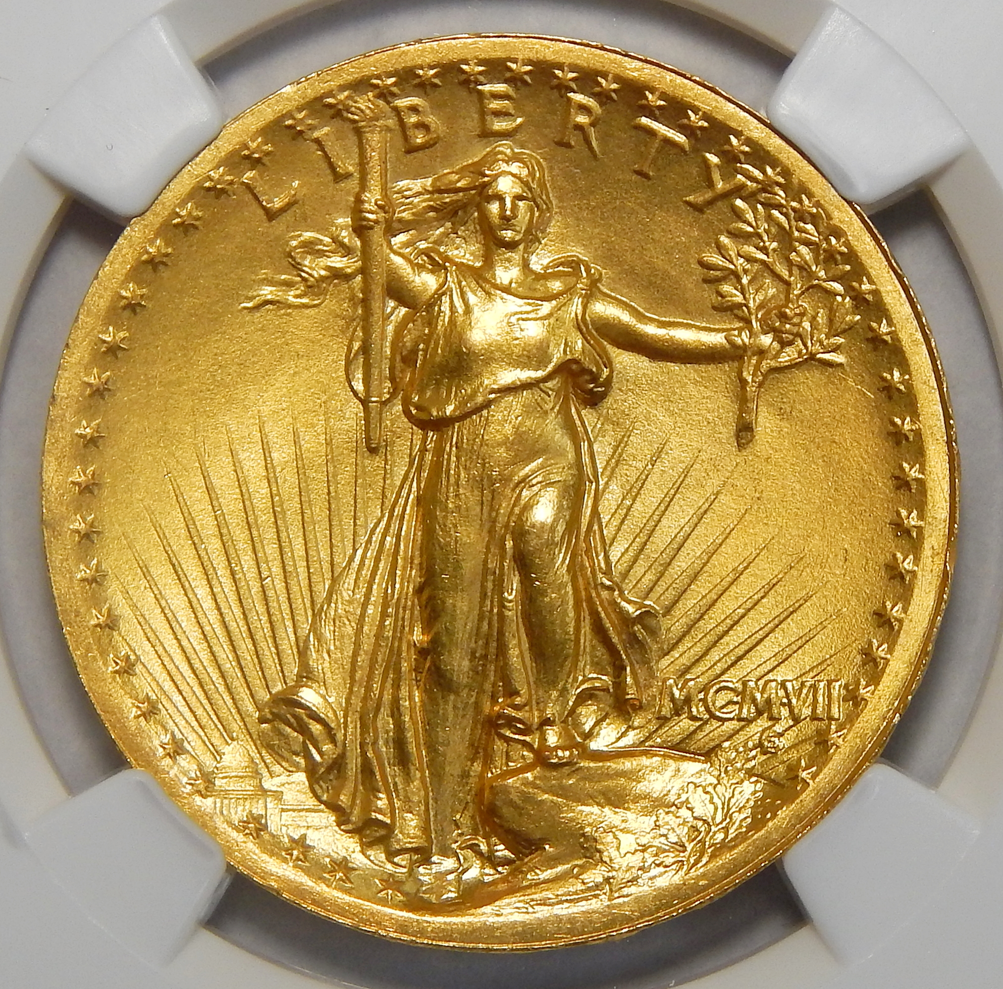1907 Ngc Ms65 High Relief Wire Edge 20 St Gaudens