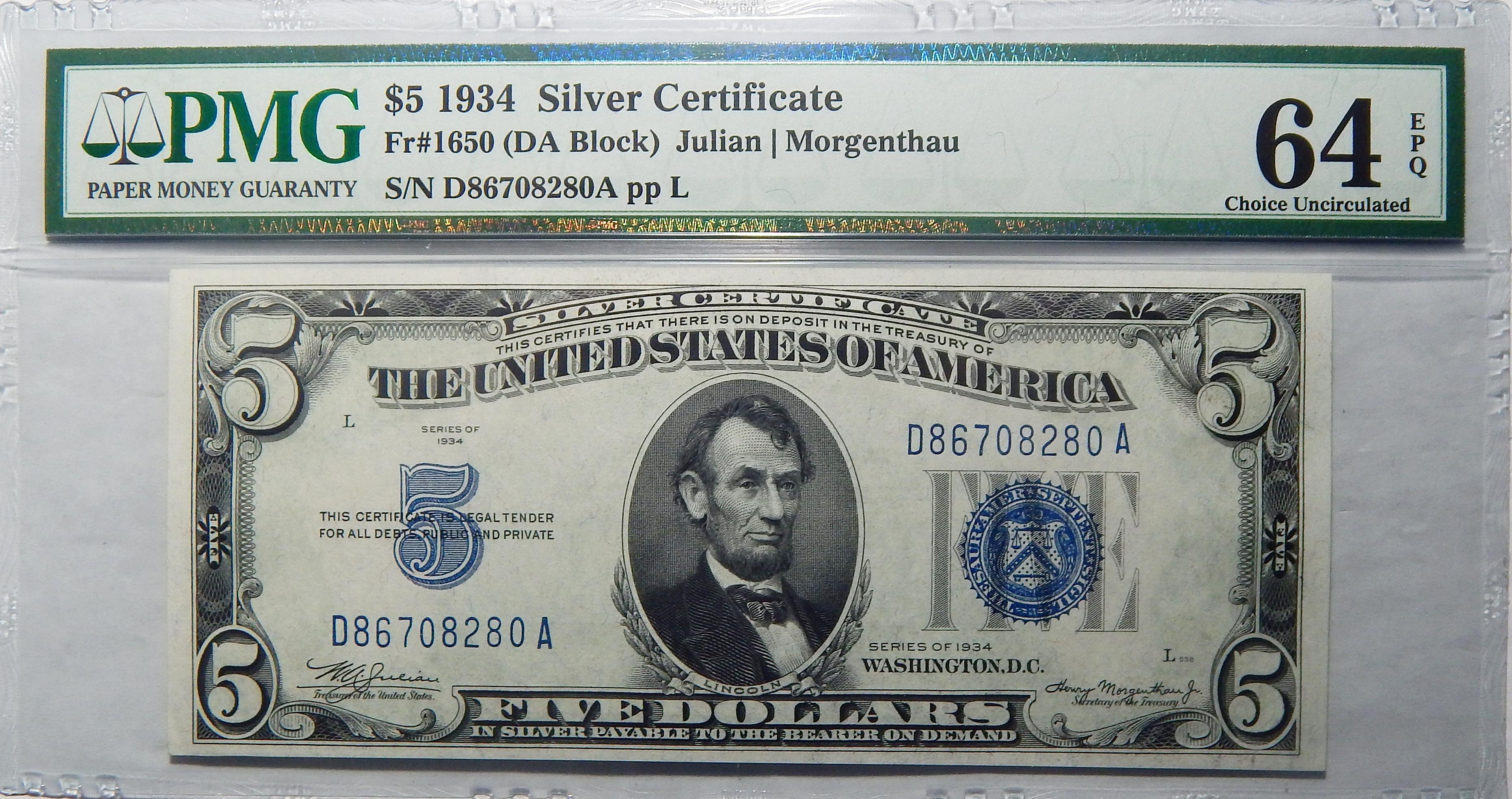 1934 Pmg 64 Epq 5 Silver Certificate Da Block Fr1650