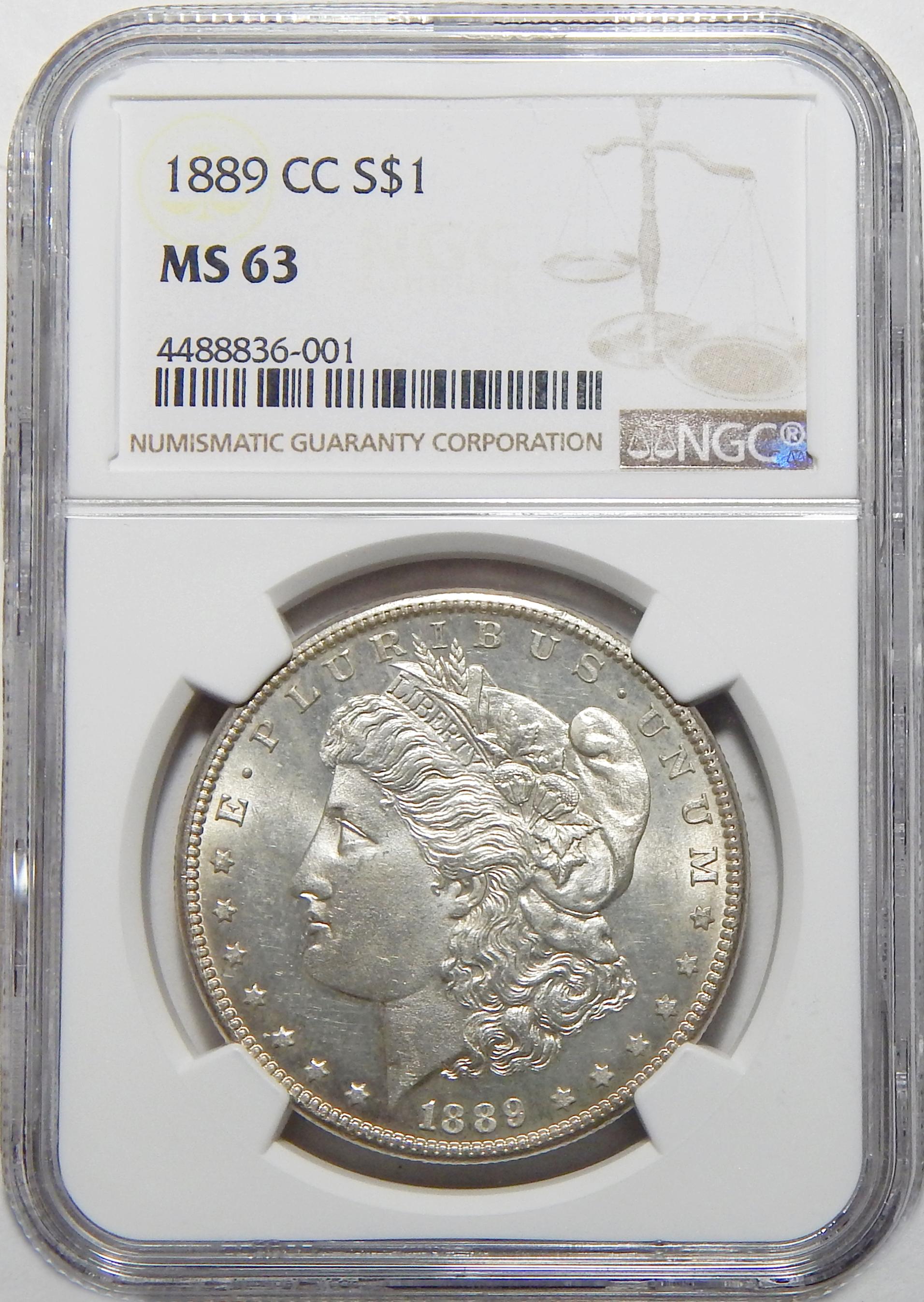 1889 Cc Ngc Ms63 Morgan Dollar
