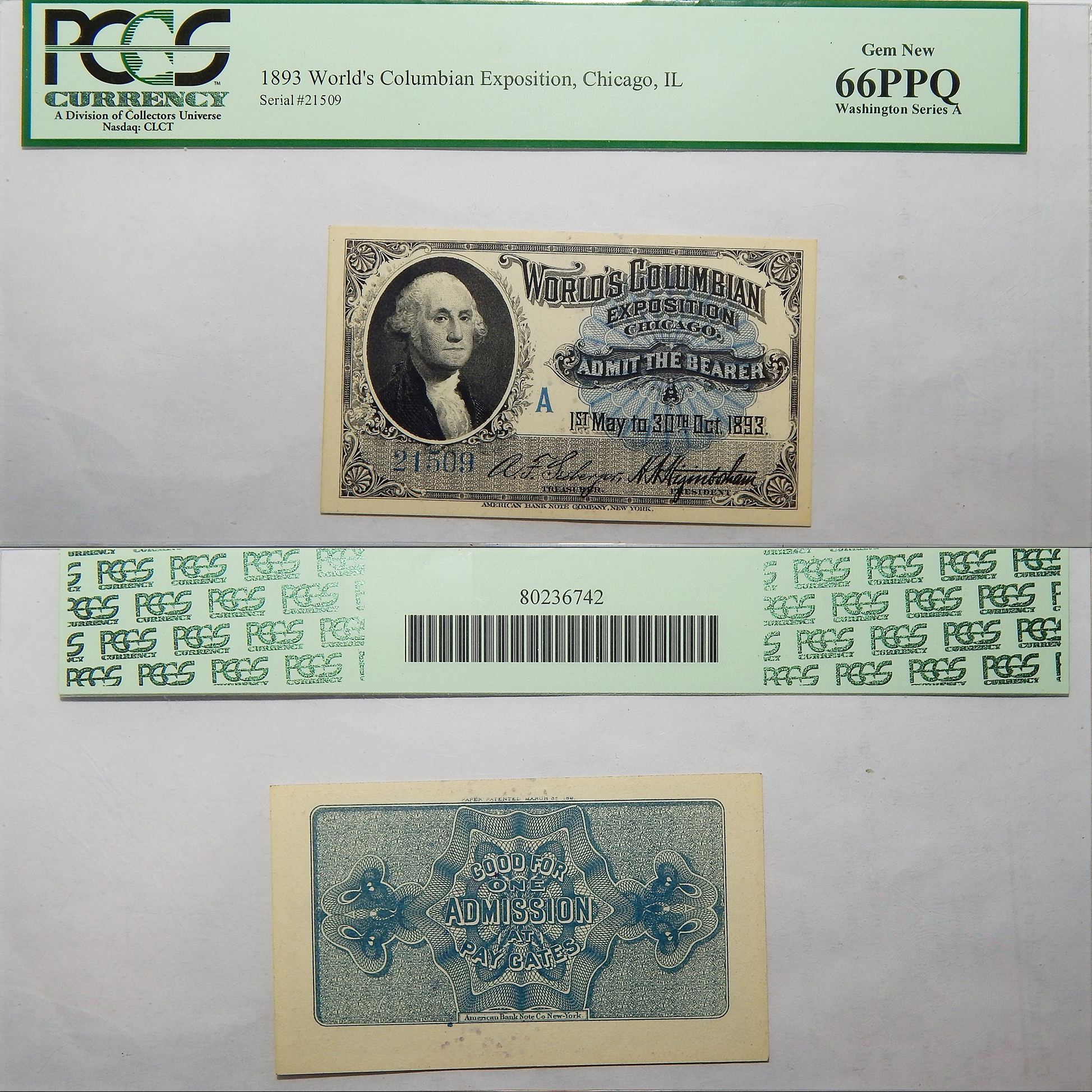 1893 Chief Series A World/'s Columbian Expo Ticket Chicago,IL PCGS Gem New 66 PPQ
